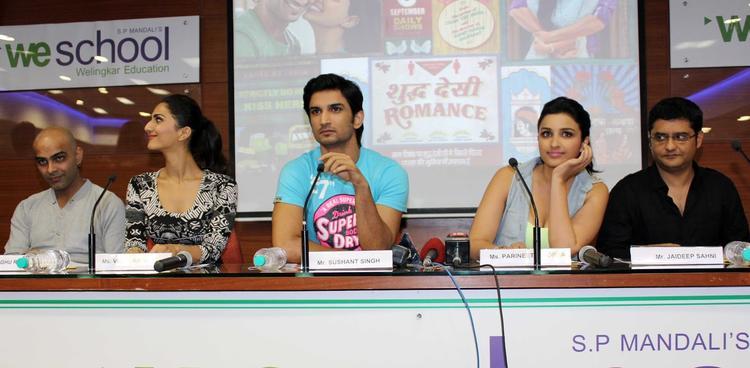 Vaani,Sushant,Parineeti And Jaideep Address The Media During The Promotion Of Shuddh Desi Romance At A College