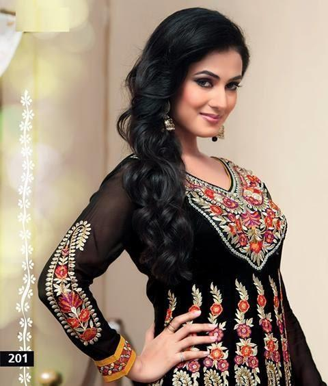Sonal Chauhan In Designer Black Anarkali Suit Gorgeous Look Photo Shoot Still