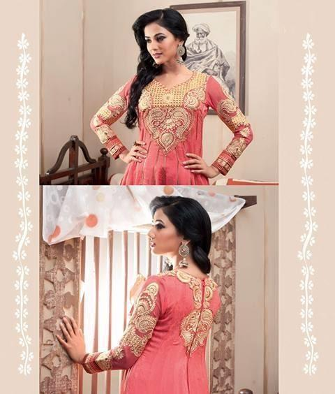 Sonal Chauhan In Designer Peach Anarkali Suit Dazzling Look Photo Shoot Still