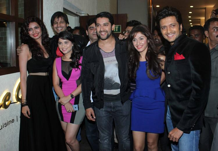 Lead Role Actor And Actress Of Grand Masti At Audio Launch Of Their New Flick