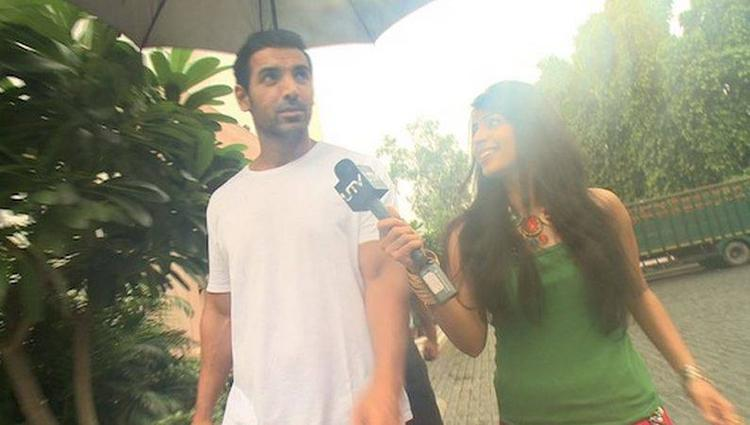 John Abraham With Reporter For His Forthcoming Flick Madras Cafe