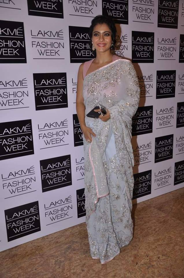 Kajol Devgan Pose For Camera In Shehla Khan Collection At LFW Day 2 Show