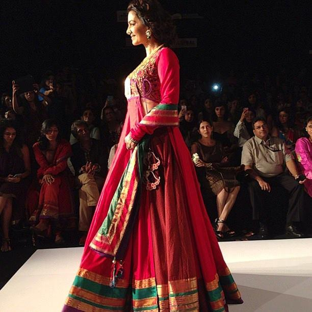 Bollywood Actress Juhi Chawla Walks On The Ramp For Shruti Sancheti At LFW 2013