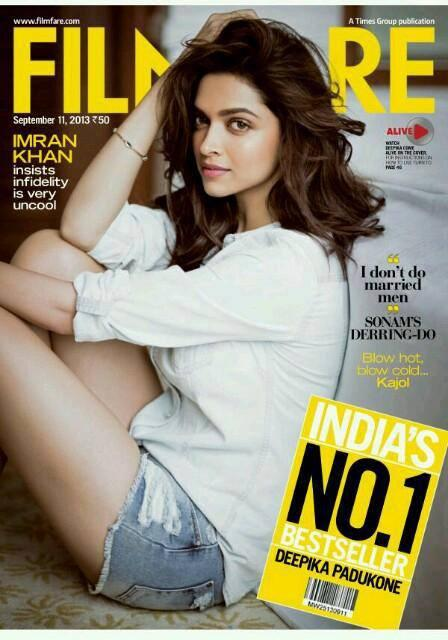 Bollywood ActressDeepika On The Cover Of Filmfare Magazine August 2013 Issue