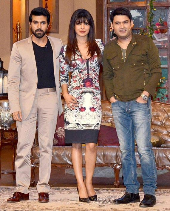 Ram Charan,Priyanka And Kapil Pose For The Shutterbugs On The Sets Of Comedy Nights With Kapil During The Promotion Of Zanjeer