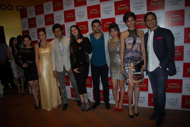 Cast And Crew Of Grand Masti Pose For Camera At LFW 2013 Day 4 Show