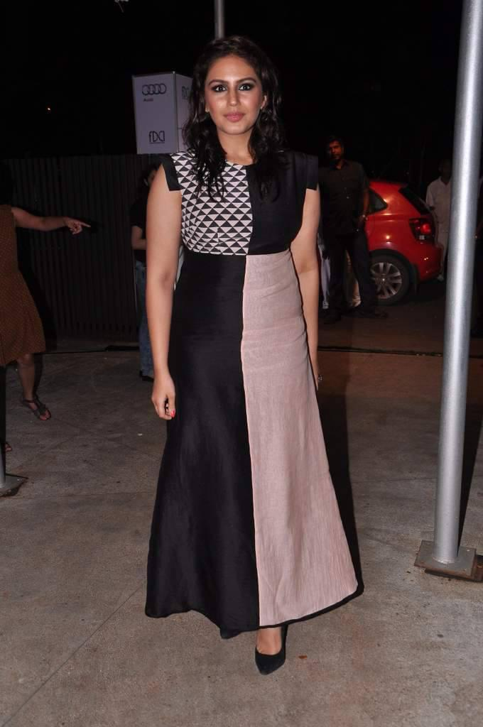 Huma Qureshi Attended The Launch Of FDCI And Audi India's Autum Winter Collection 2014 Wearing A Payal Singha Outfit