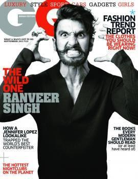 Ranveer Singh Angry Look On The Cover Of GQ Magazine September 2013 Issue