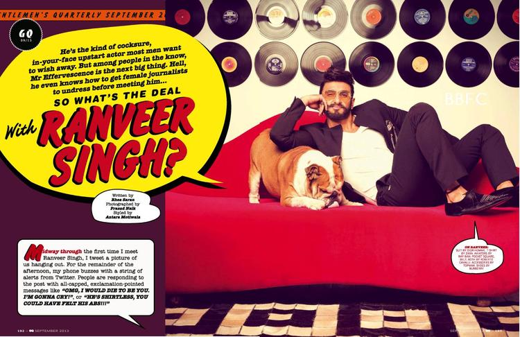 Ranveer Singh Graced GQ Magazine September 2013 Issue