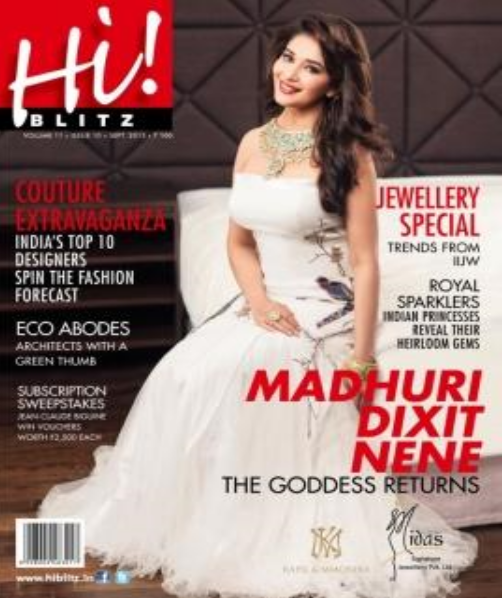 Evergreen Diva Madhuri Dixit Amazing Look In White Gown For Hi! BLITZ Magazine