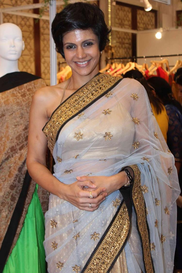 Mandira Bedi In Net Saree At The Araaish Fashion Exhibition