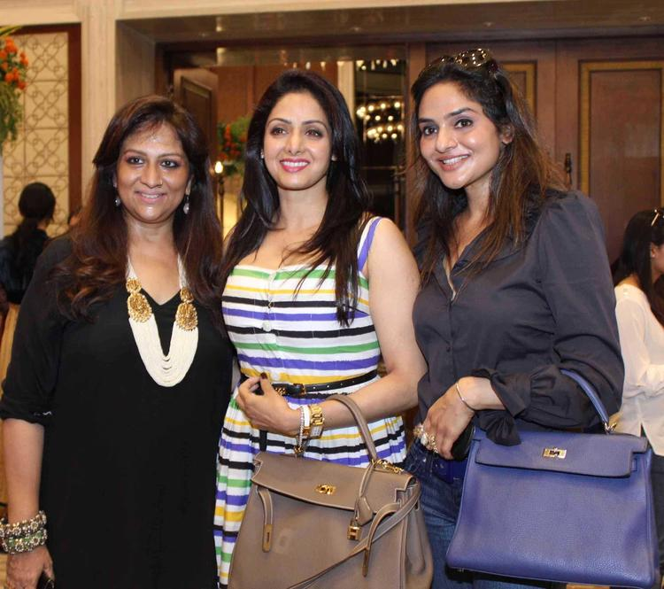Sridevi And Madhoo Smiling Pic During Exhibition Of Araaish Fashion