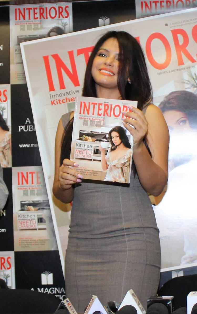 Neetu Chandra Smiling Look At Society Interiors Magazine Cover Launch September 2013 Issue