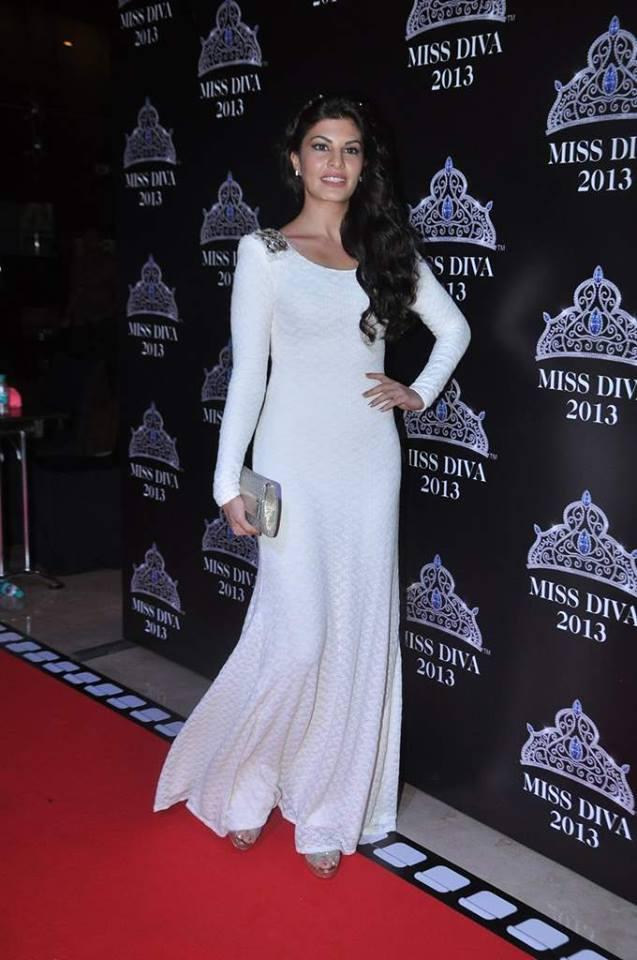 Jacqueline Fernandez Looking Elegant In Sleevefull White Gown At Miss Diva Contest 2013