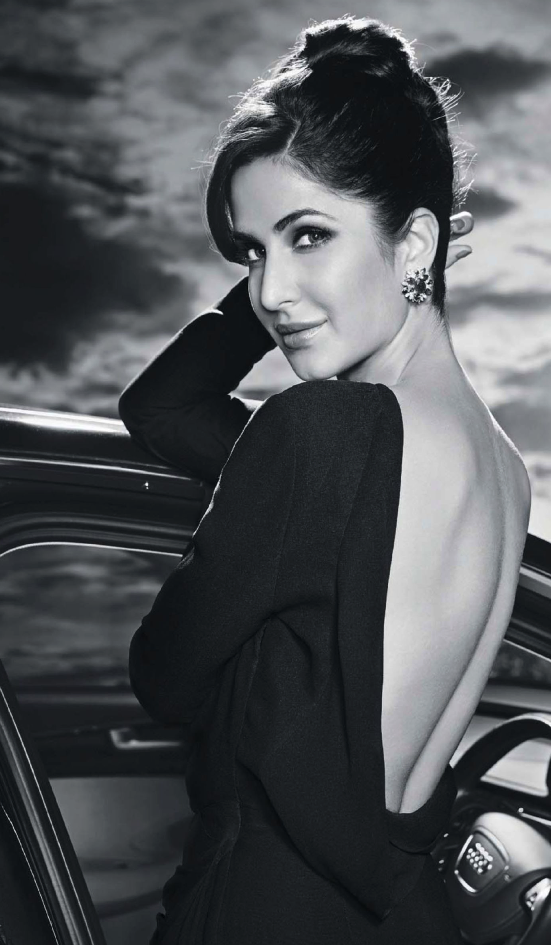 Katrina Kaif Spicy Pose Photo Shoot In Back Bare Black Dress For Hello