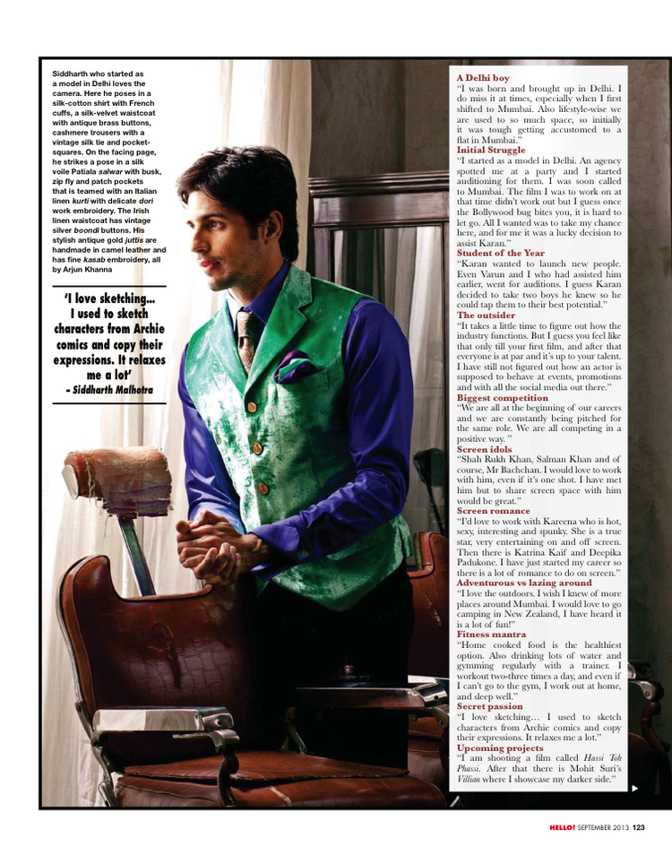 Sidharth Malhotra Cool For HELLO! INDIA September 2013 Issue