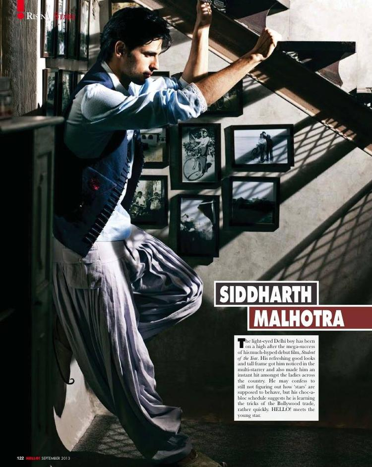 Sidharth Malhotra Deep In Thought Look For HELLO! INDIA September 2013 Issue