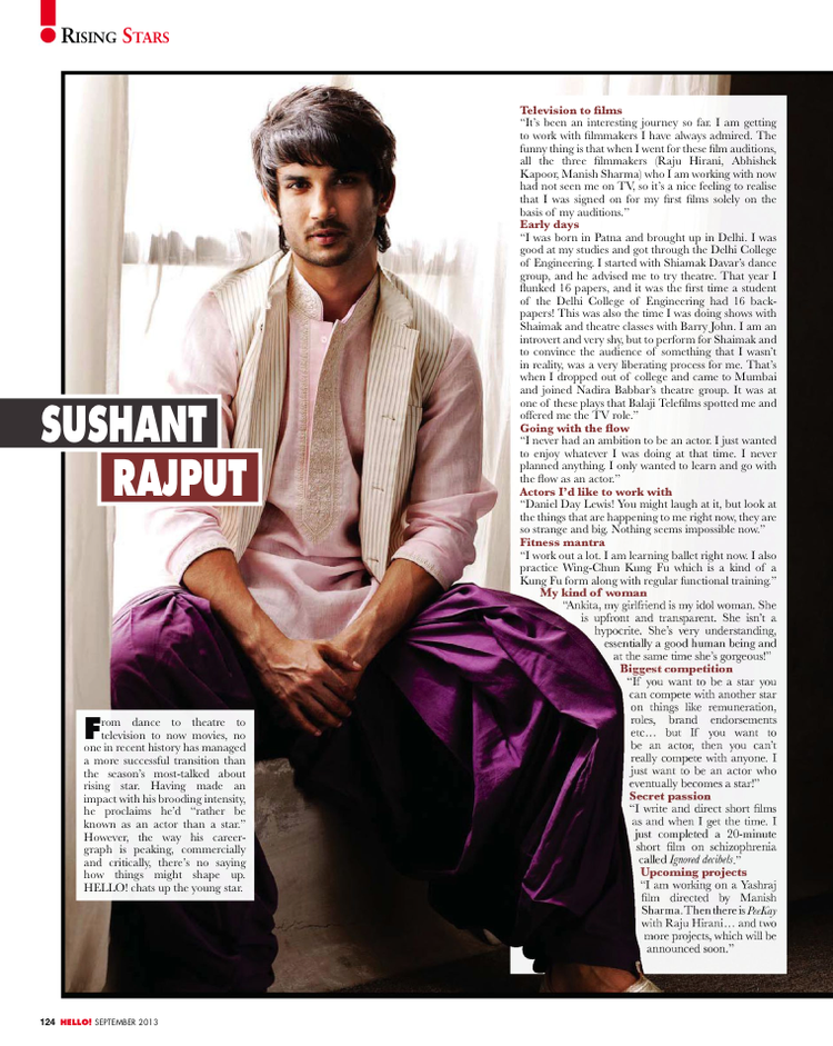 Sushant Singh Rajput Glamour Look For HELLO! INDIA September 2013 Issue