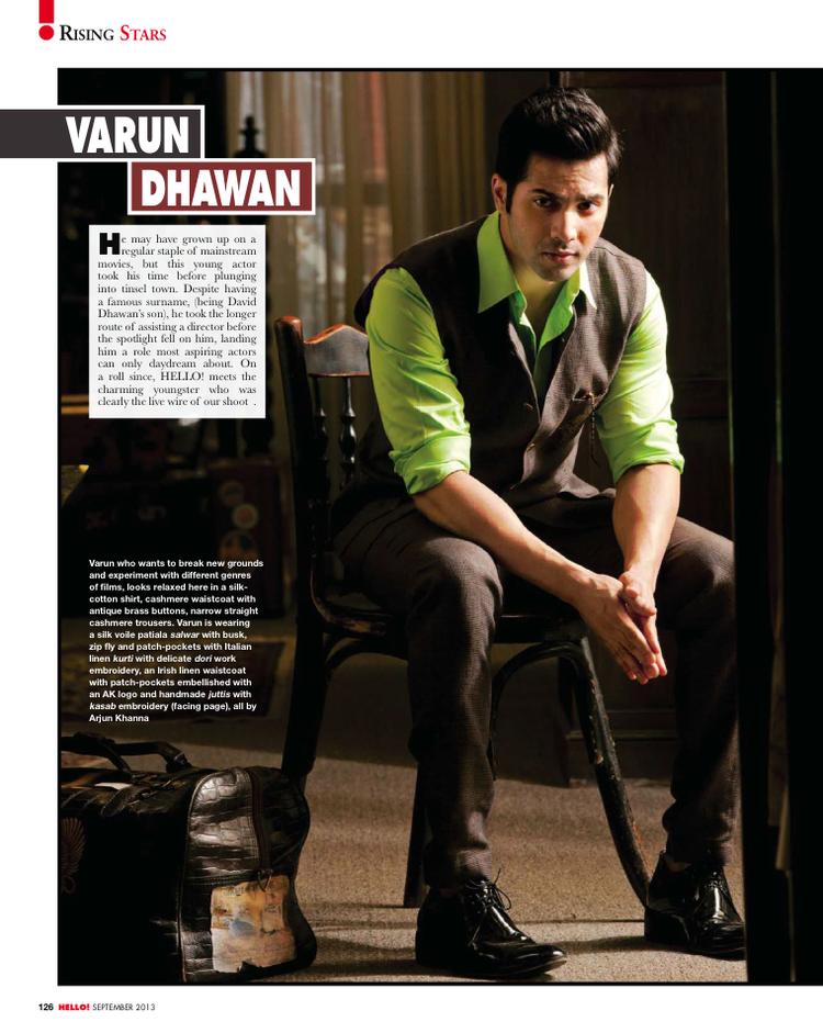 Varun Dhawan Stylish Look For HELLO! INDIA September 2013 Issue