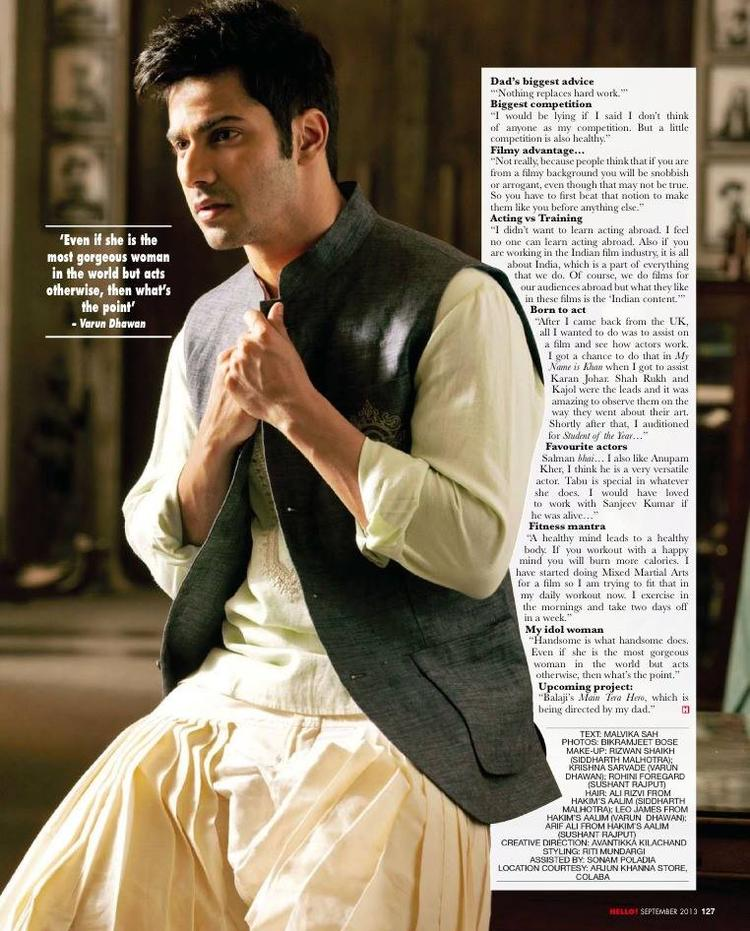Varun Dhawan Traditional Look For HELLO! INDIA September 2013 Issue