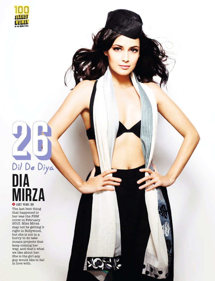Dia Mirza Featured 26th Position In FHM Magazine Top 100 Sexiest Women On September 2013 Issue