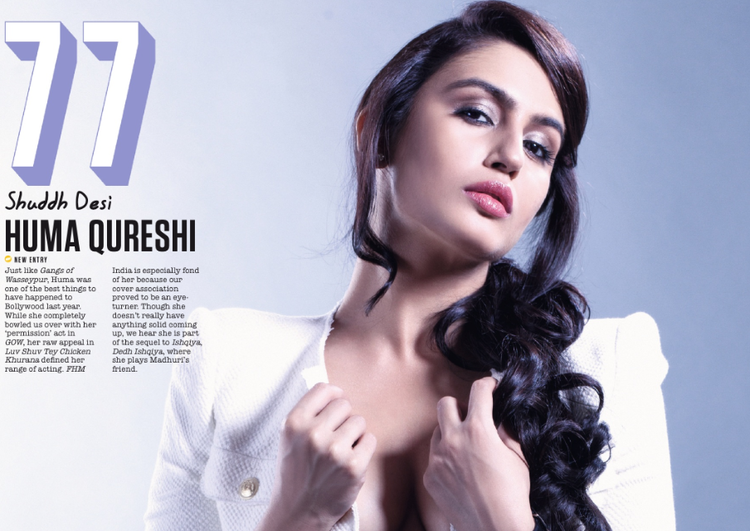 Huma Qureshi At 77th Position In FHM Magazine Top 100 Sexiest Women On September 2013 Issue
