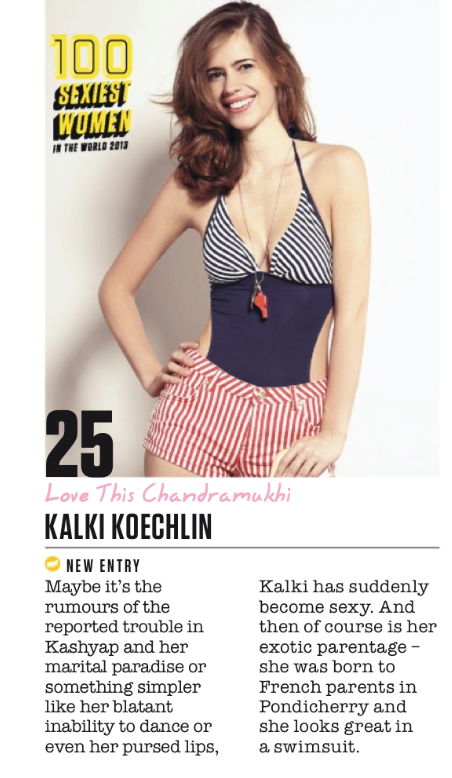 Kalki Koechlin Hits 25th Spot In FHM Magazine Top 100 Sexiest Women On September 2013 Issue