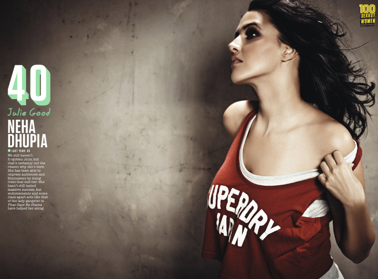 Neha Dhupia Featured 40th Position In FHM Magazine Top 100 Sexiest Women On September 2013 Issue
