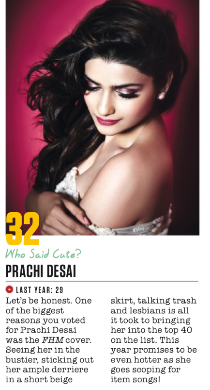 Prachi Desai Hits 32nd Spot In FHM Magazine Top 100 Sexiest Women On September 2013 Issue