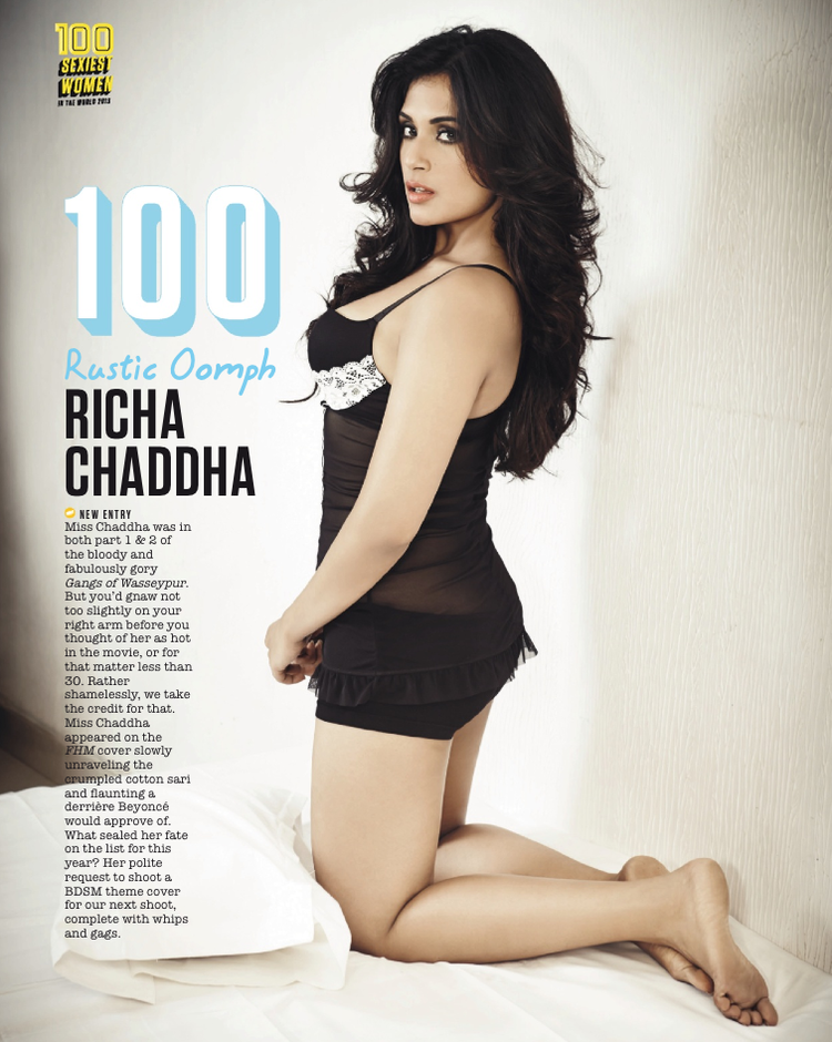 Richa Chadda Hits 100th Position In FHM Magazine Top 100 Sexiest Women On September 2013 Issue