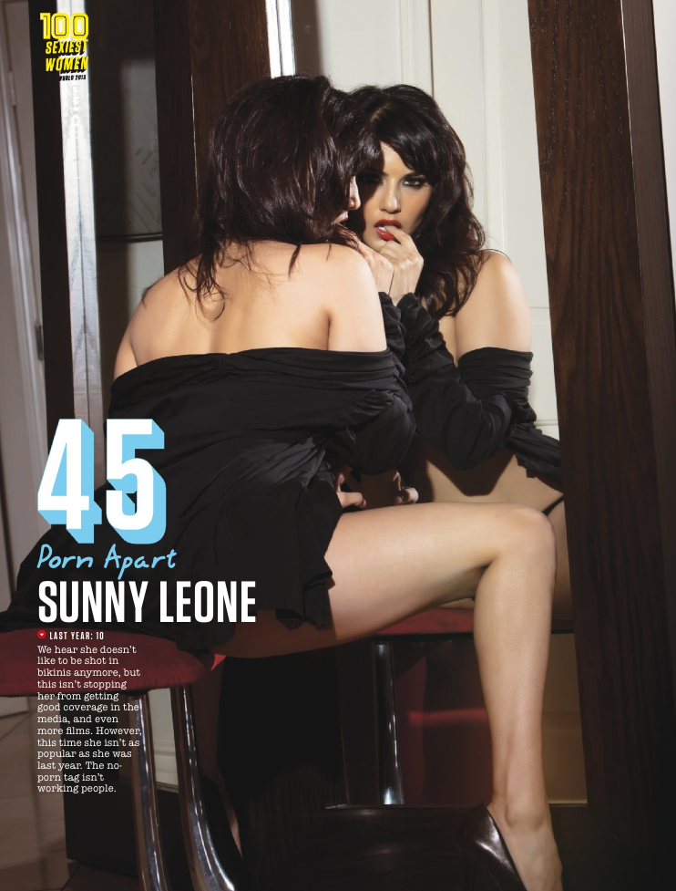 Sunny Leone Hits 45th Spot In FHM Magazine Top 100 Sexiest Women On September 2013 Issue