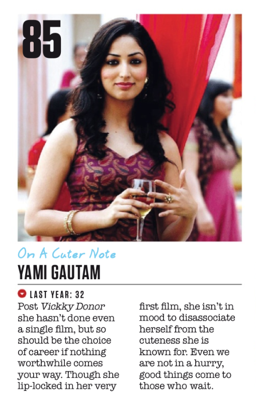 Yami Gautam At 85th Position In FHM Magazine Top 100 Sexiest Women On September 2013 Issue