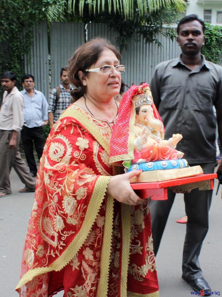 A Guest With A Ganesh Idol At Arpita's Ganpati Celebrations 2013
