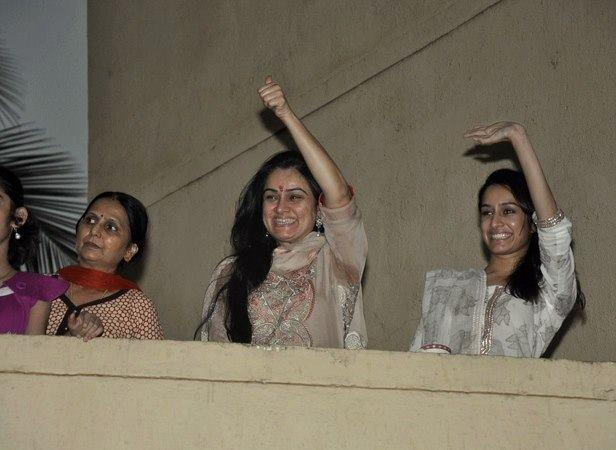 Padmini And Shraddha Wave To Fans From Her Balcony