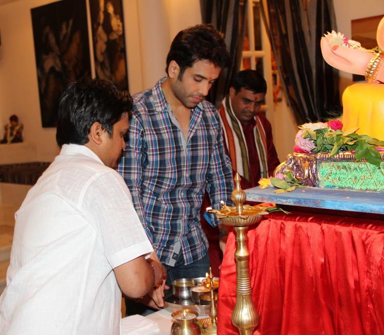 Tusshar Kapoor Celebrating Ganesh Chaturthi At His Residence