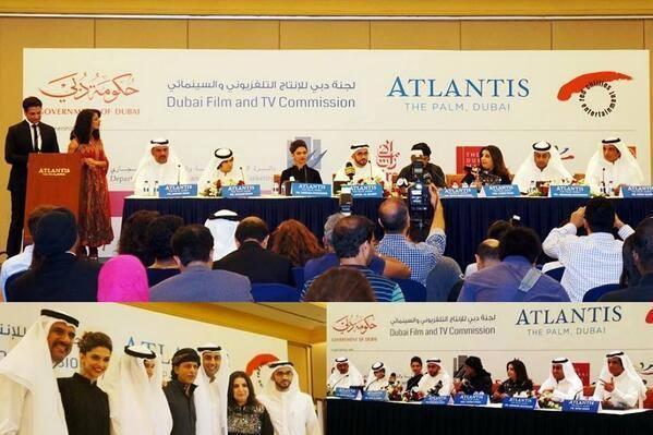 Boman,Vivaan,SRK,Deepika,Farah,Abishek And Sonu During The Happy New Year Press Conference In Dubai
