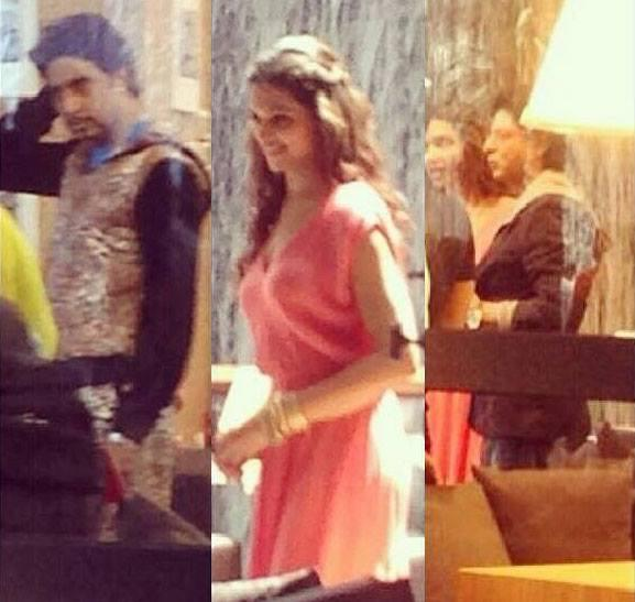 Abhishek And Deepika Cool Smiling Look On The Sets Of Happy New Year Movie