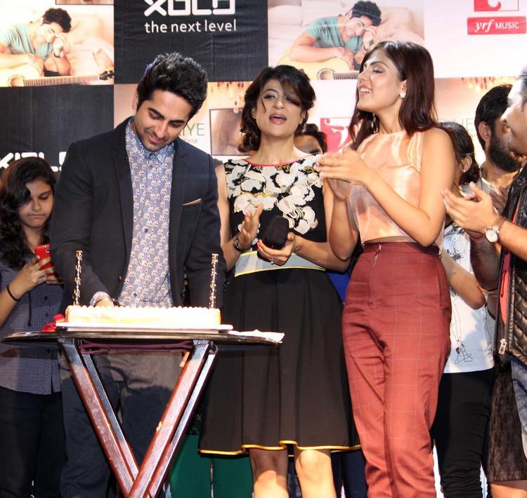Actor Ayushmann Along With His Wife Tahira Launch His Music Album 'O Heeriye' On His Birthday In Mumbai
