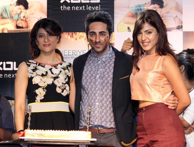 Rhea,Ayushmann And Tahira Pose For Camera During The Launch Of O Heeriye Music Album