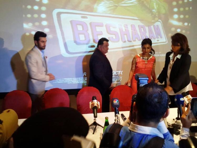 Ranbir,Rishi,Pallavi And Neetu At A Conference During The Promotion Of Besharam In Dubai