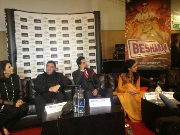 Neetu,Rishi,Ranbir And Pallavi During The Promotion Of Besharam In London