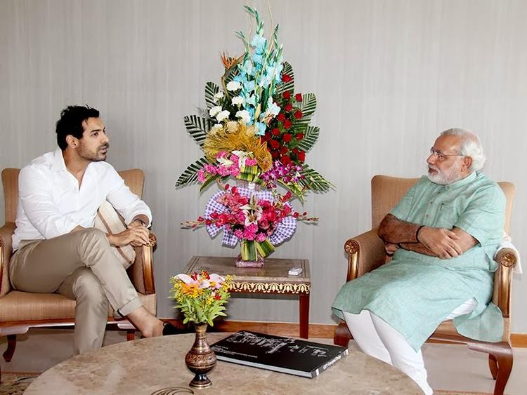 John Abraham Meets The Narendra Modi At Capital Gandhinagar Office