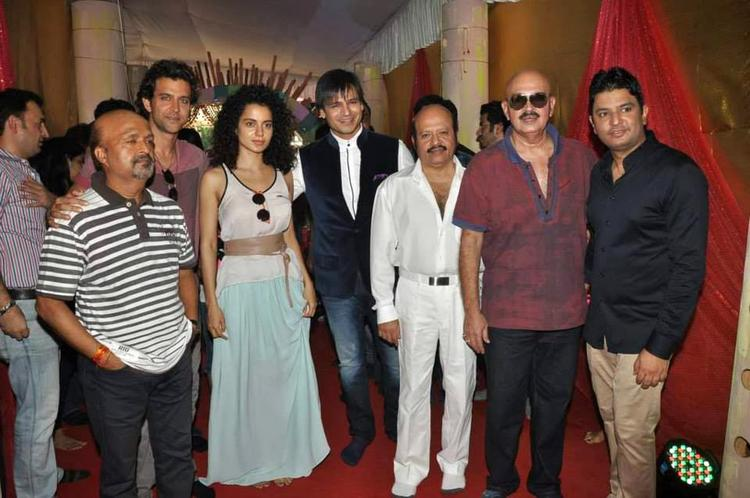 Cast And Crew During The Music Launch Event Of Krrish 3 At A Ganesha Pandal