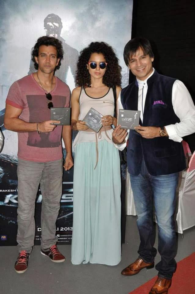 Hrithik,Kangana And Vivek Launches Krrish 3 Music At A Ganesha Pandal