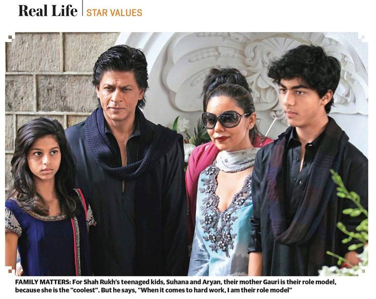 SRK Posed With Wife Gauri,Son Aryan And Daughter Suhana Nice Photo On Khaleej Times Weekend Magazine Interview 20th September