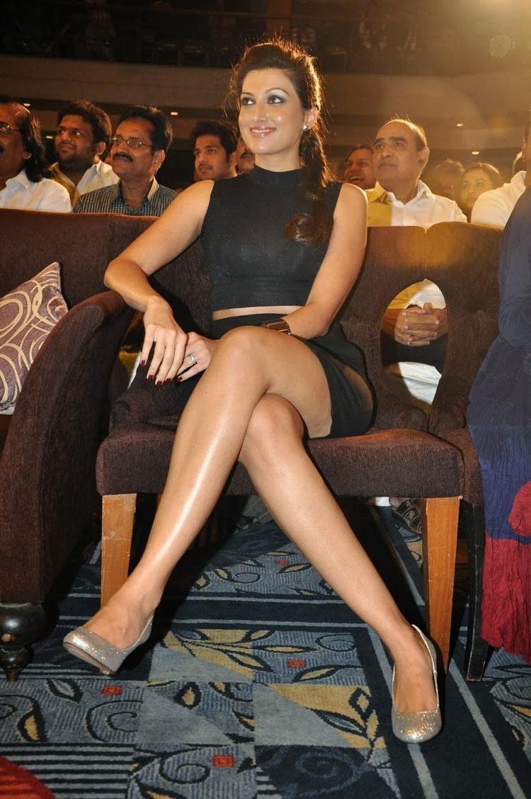 Hamsa Nandini Milky Legs Show Hot Look At Ramaiya Vastavaiya Audio Release Function