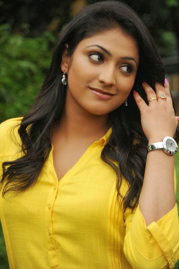 Haripriya In Yellow Dress Nice Look On The Sets Of Ee Varsham Sakshiga Movie