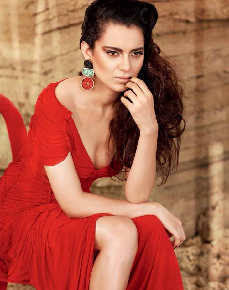 Kangna Ranaut Stunning In Red Gown For Filmfare's Fashion October 2013 Edition