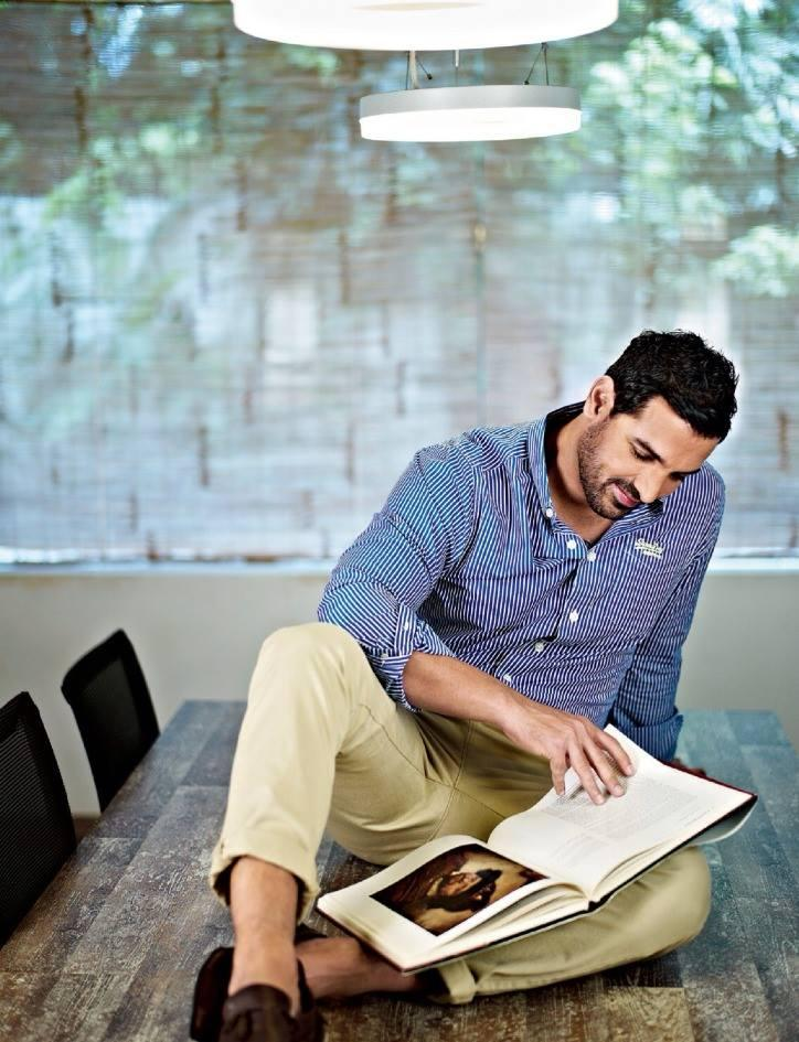 John Abraham Cool Book Reading Style For FilmFare Magazine October 2013 Issue