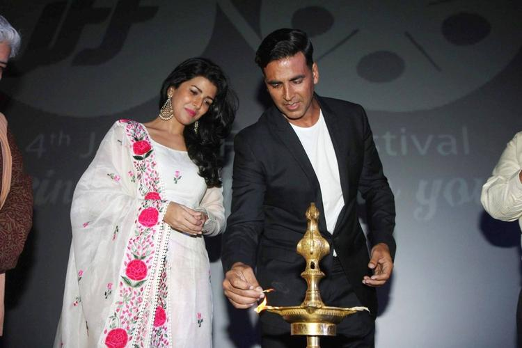 Nimrat And Akshay Light the Candle At 4th Jagran Film Festival Launching Event